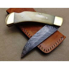 Back Lock Damascus Folding Knife Custom Handmade Damascus Steel Hunting Knife Damascus Folding Knife With Camel Bone Handle Leather Sheaths  1816