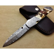 Beautiful Gift Damascus Folding Knife Custom Handmade Damascus Steel Hunting Knife Best Damascus Folding Knife With Deer Stag and Rose Wood Handle Liner Lock Leather Sheaths 1802