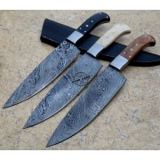 Lot Of 3 PCs Damascus Kitchen Knife Custom Handmade Damascus Steel Kitchen Knife With Camel Bone-Buffalo Horn-Rose Wood Handle With Leather Sheaths 1898