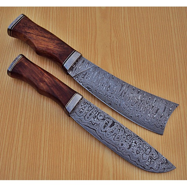 Custom Made Kitchen Knives: Lot Of 2 PCs Damascus Kitchen Knife Custom Handmade
